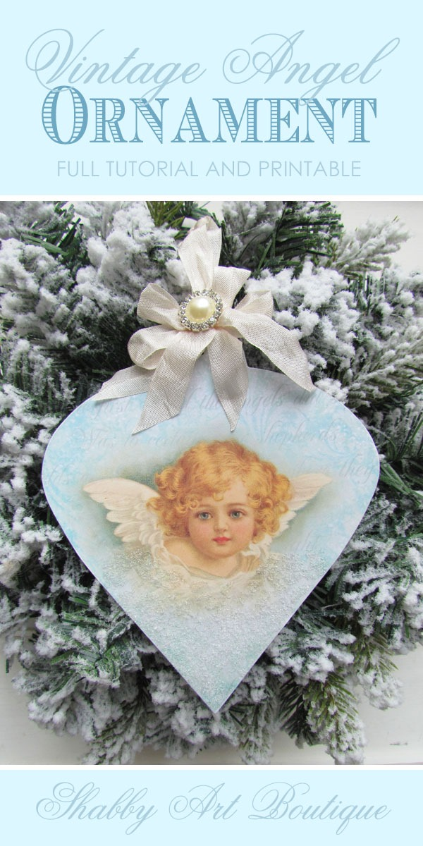 Handmade Vintage Angel Ornament - full tutorial and printable graphic for download at Shabby Art Boutique