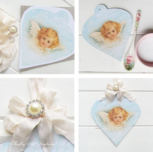 How to make a Vintage Christmas Angel Ornament by Shabby Art Boutique