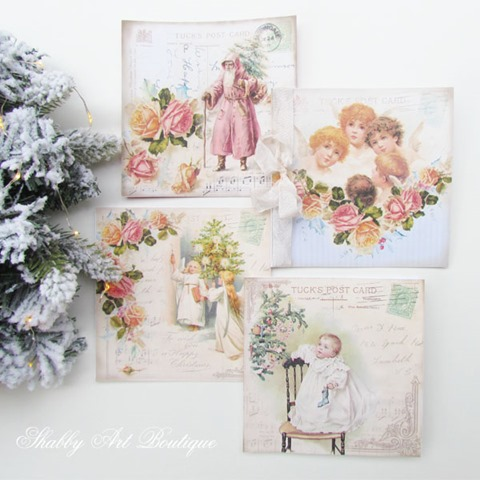 4 free vintage Christmas card printables from Shabby Art Boutique