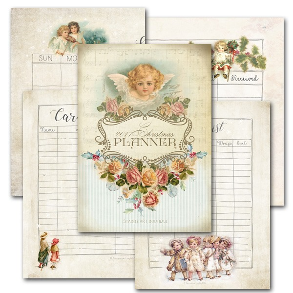 A5 Printable 2017 Vintage Christmas Planner from Shabby Art Boutique