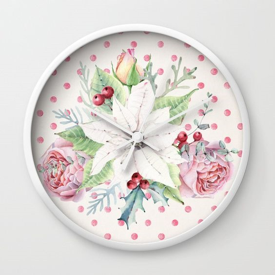 Christmas clock designed by Shabby Art Boutique - sold on Society 6