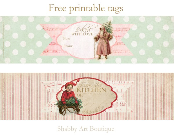 Christmas food gift wrap printables to download from Shabby Art Boutique