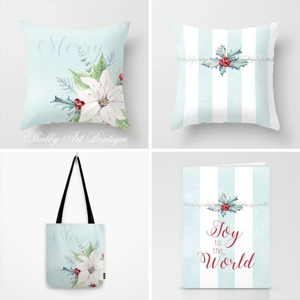 Cottage Christmas designs by Shabby Art Boutique - sold on Society 6