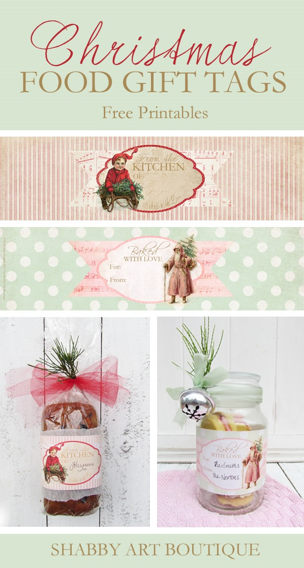 Printable christmas food gift tags shabby art boutique download these free christmas food gift tags to use on your baked goods from shabby negle Images