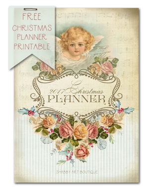 Download this free vintage 2017 Christmas Planner printable from Shabby Art Boutique