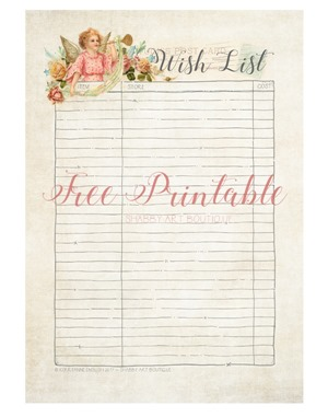 Download your free 'Wish List' printable at Shabby Art Boutique