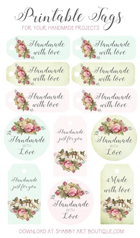 Download your free tags for handmade projects at Shabby Art Boutique