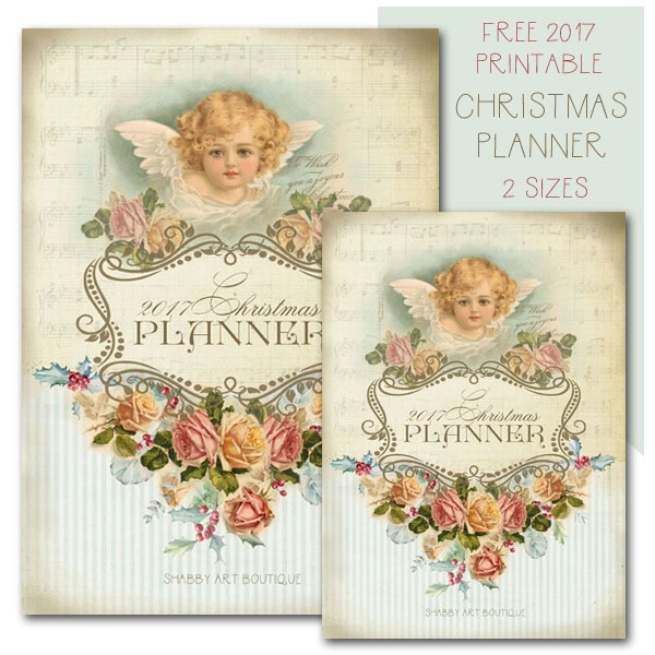 Free 2017 printable Christmas planner in 2 sizes - download at Shabby Art Boutique