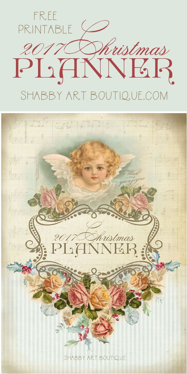 Free printable 2017 Vintage Christmas Planner from Shabby Art Boutique