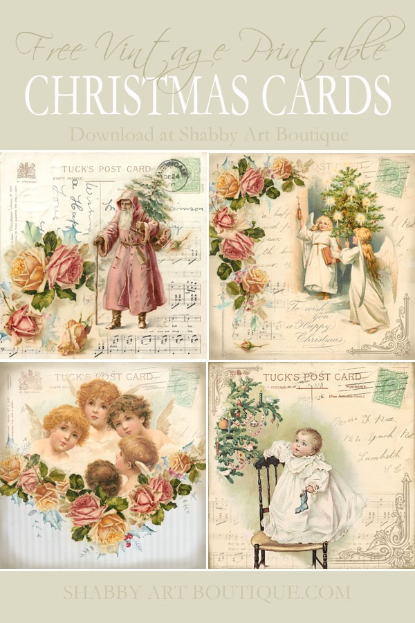 Free to download - these printable vintage Christmas graphics will make beautiful handmade cards - Visit Shabby Art Boutique to download