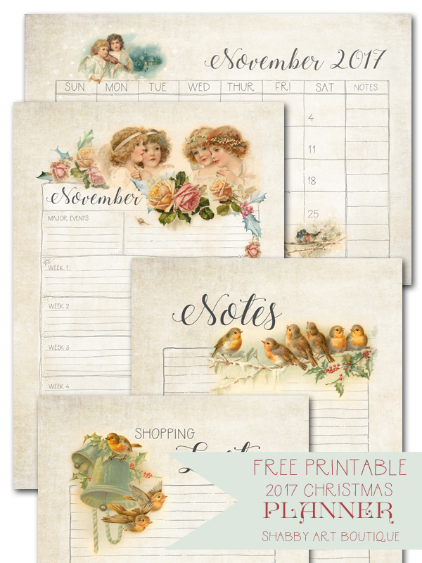 Get this free vintage 2017 Christmas Planner printable at Shabby Art Boutique