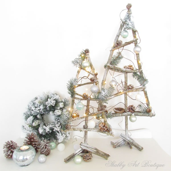 how to make twig christmas trees by shabby art boutique