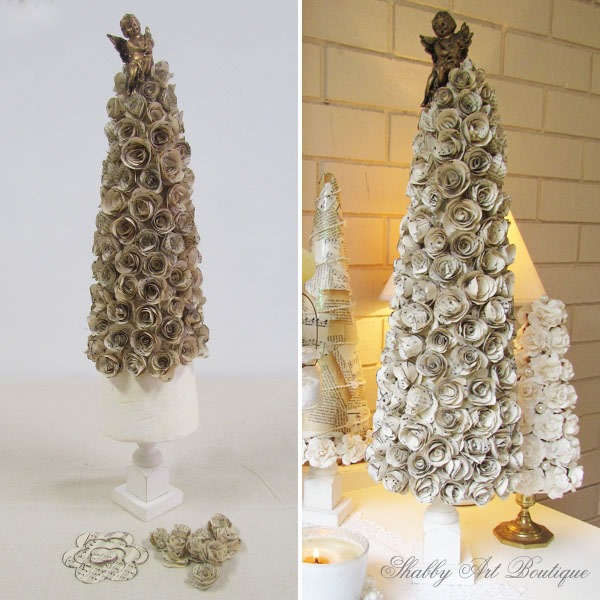 How to make a paper rose tree at Christmas by Shabby Art Boutique