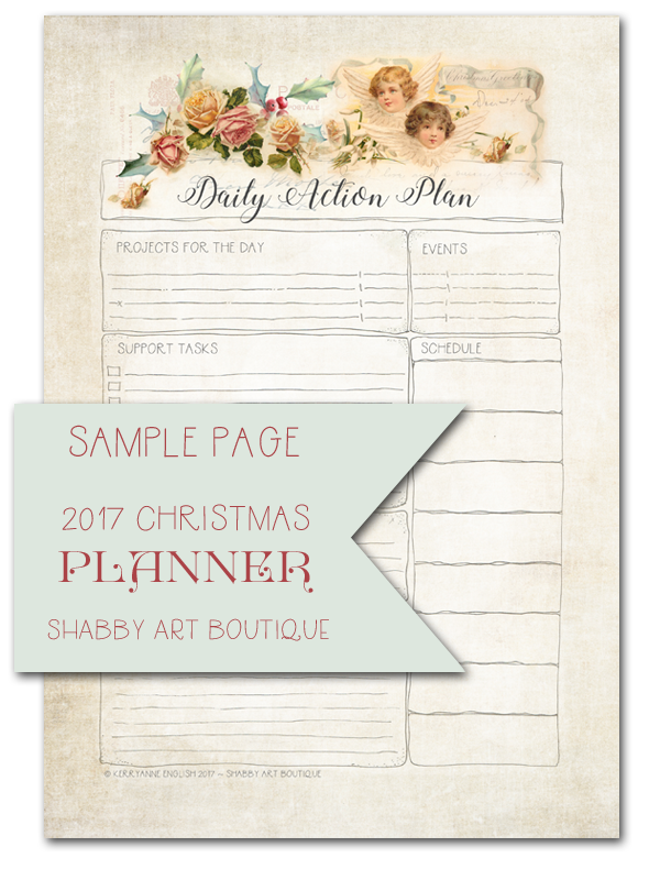 Sample page of free 2017 Christmas Planner from Shabby Art Boutique