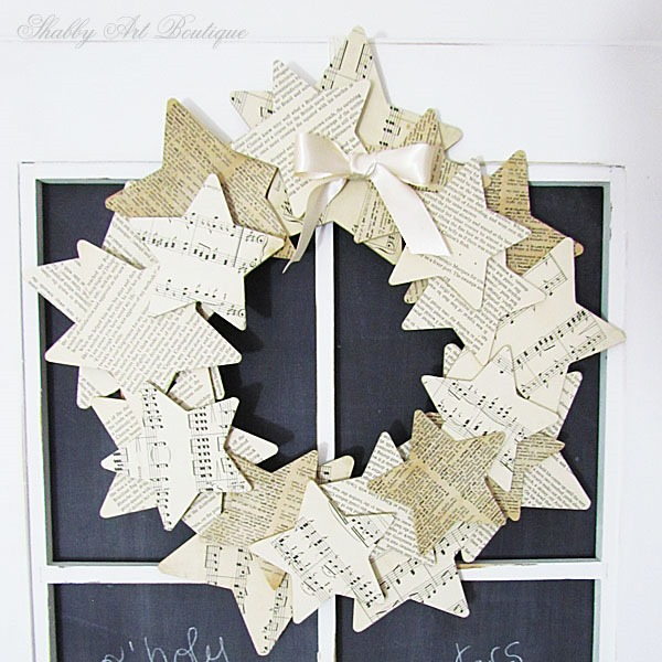 Star wreath made from book paper by Shabby Art Boutique