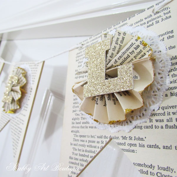 Vintage book paper banner for Christmas by Shabby Art Boutique