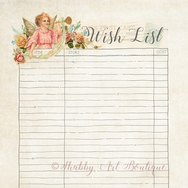 Wish List printable by Shabby Art Boutique