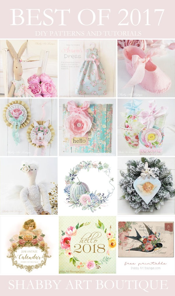 Best of 2017 DIY tutorials and patterns from Shabby Art Boutique