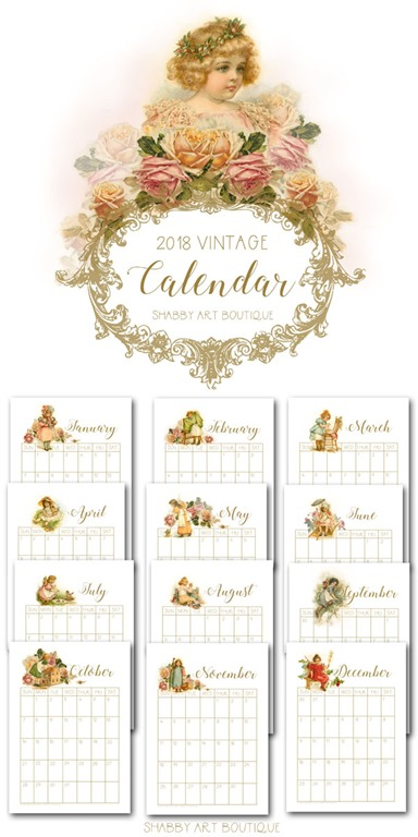 2018 Calendar Vintage : Free printable vintage calendar shabby art boutique