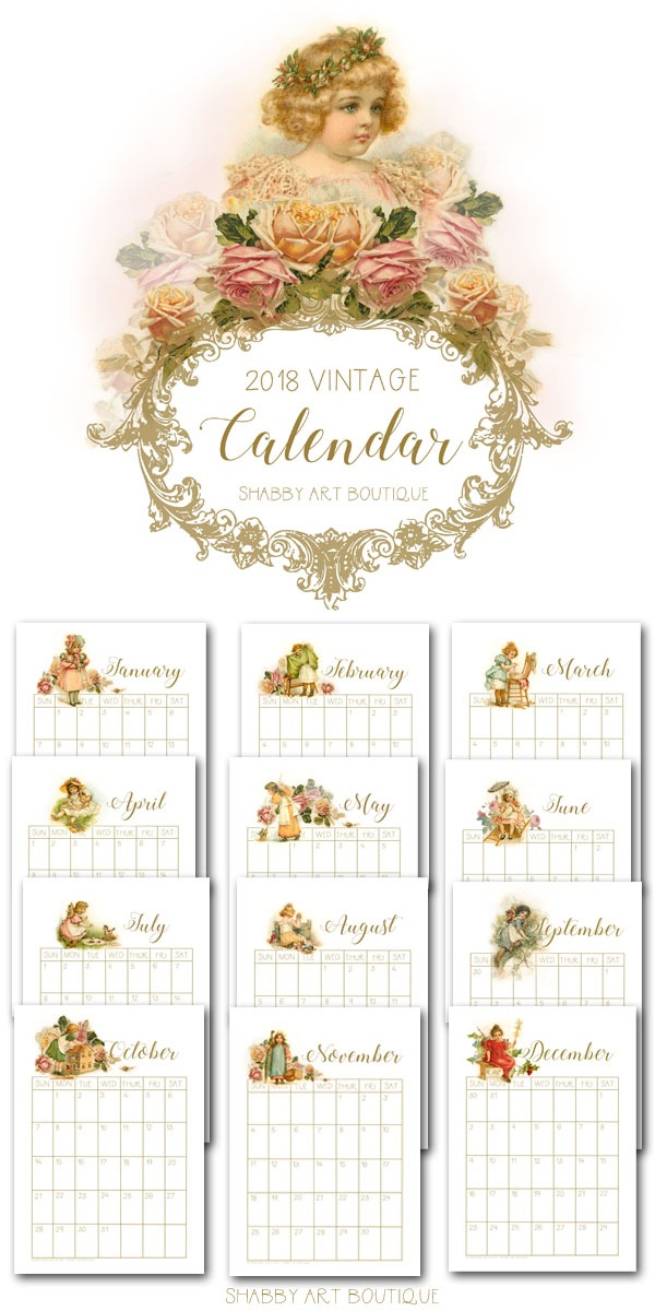Download this free printable 2018 vintage calendar from Shabby Art Boutique