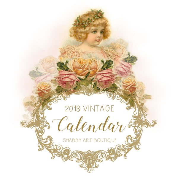 Free 2018 Vintage Calendar from Shabby Art Boutique