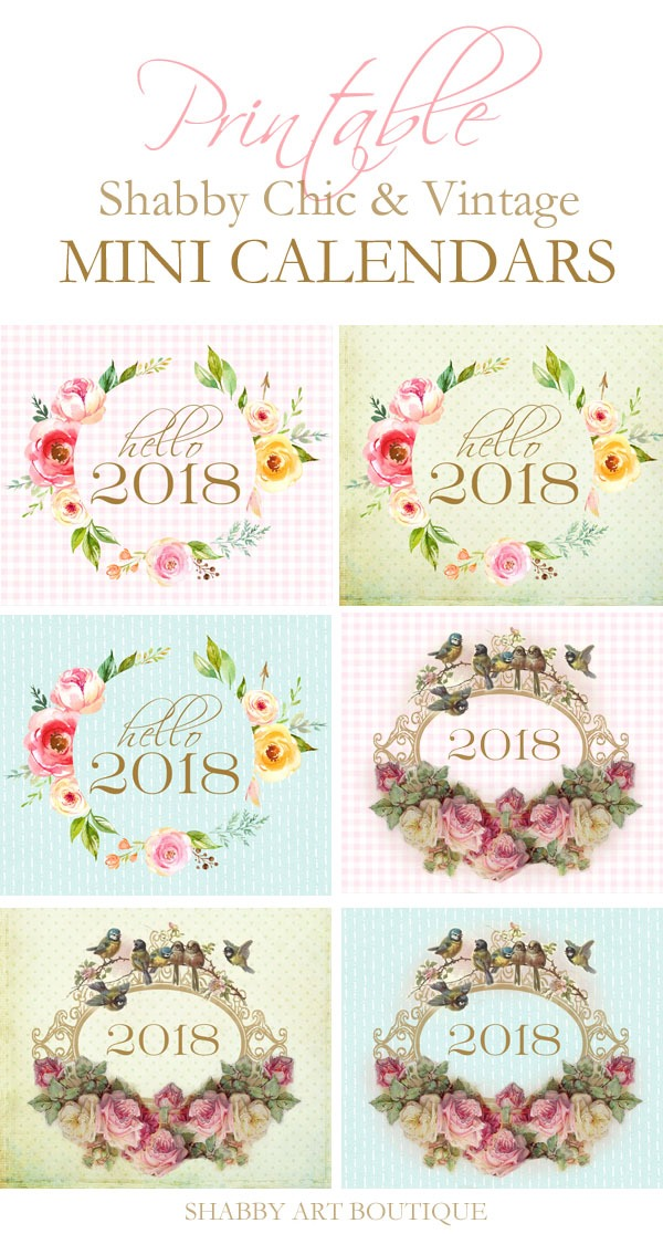 Free printable 2018 mini calendars from Shabby Art Boutique