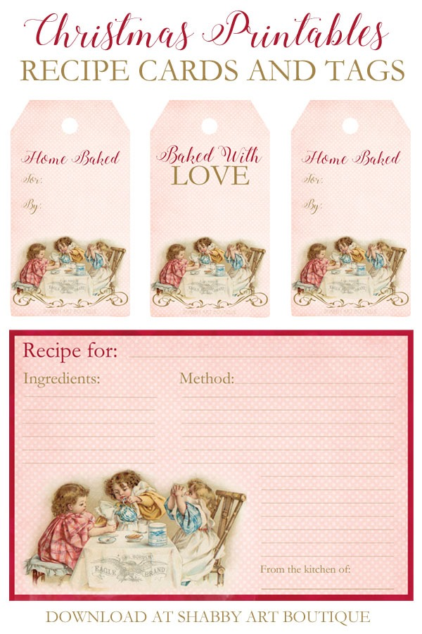 Printable Christmas recipe cards and tags to download at Shabby Art Boutique
