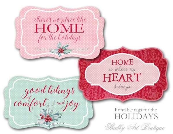 Printable Tags for the Holidays from Shabby Art Boutique