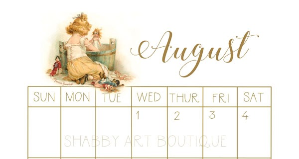 Sample of 2018 Vintage Calendar from Shabby Art Boutique