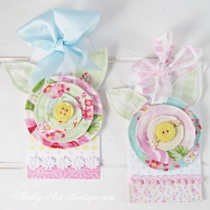 2 scrappy fabric flower tags by Shabby Art Boutique