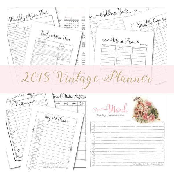 2018 Vintage Planner pages to download from Shabby Art Boutique
