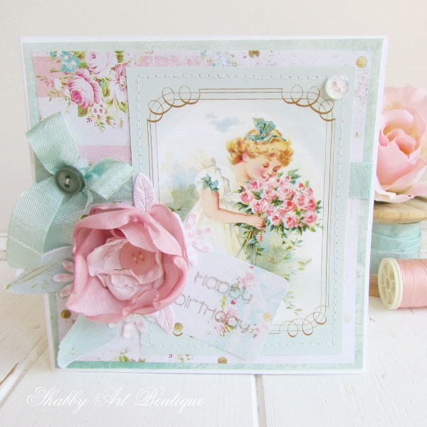 Free printable vintage graphics from Shabby Art Boutique used to make handmade cards