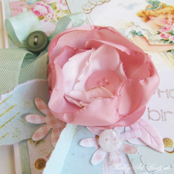 Using seared silk flowers on handmade cards at Shabby Art Boutique
