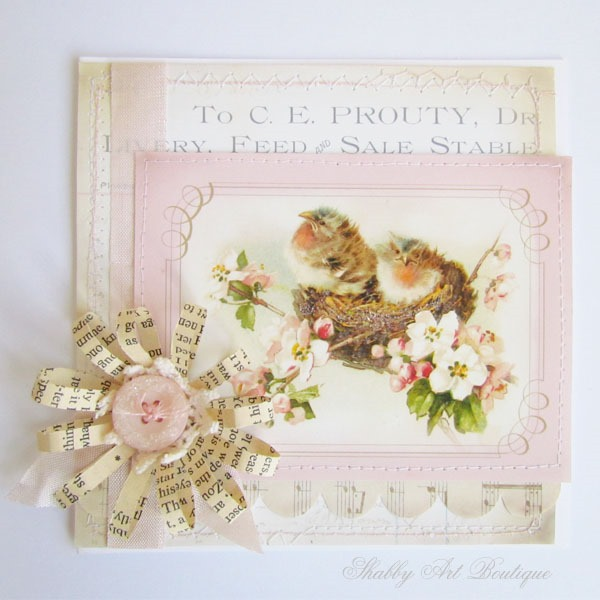 Vintage bird printable for card making at Shabby Art Boutique