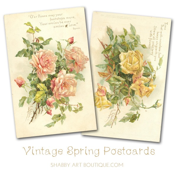 Free printable vintage spring postcards from Shabby Art Boutique