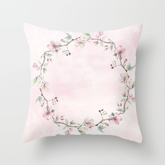 Shabby Chic Spring Blooms pillow available at Shabby Art Boutique on Society6