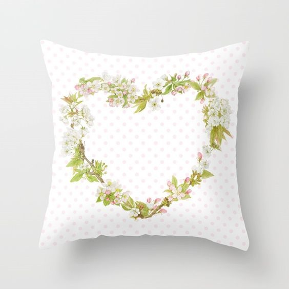 Spring Blossom heart pillow by Shabby Art Boutique on Society6