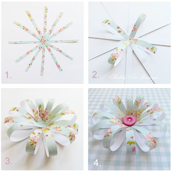 Tutorial for making paper flowers for cards by Shabyy Art Boutique