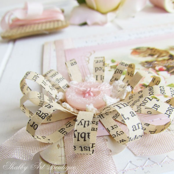 Vintage book paper bows fro card making at Shabby Art Boutique