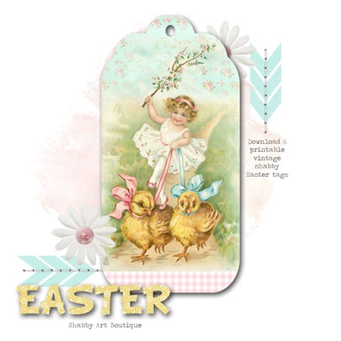 6 shabby vintage Easter tags to download and print from Shabby Art Boutique