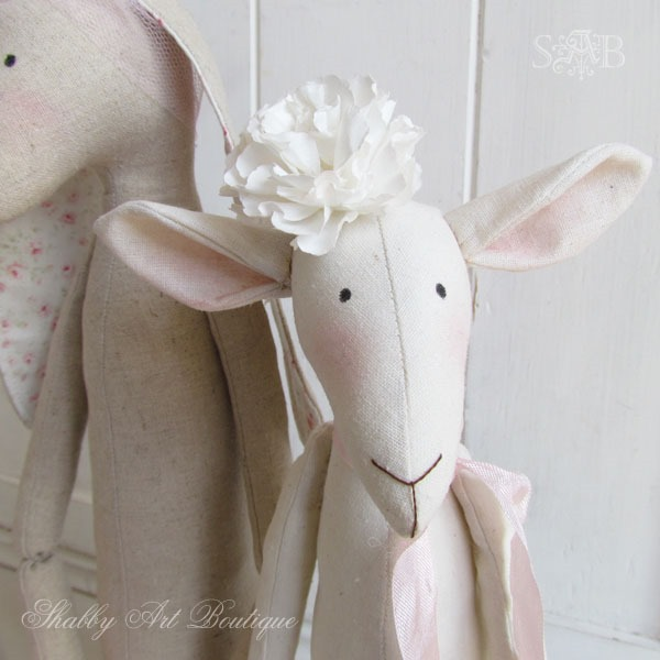 Close up of shabby spring Tilda lamb by Shabby Art Boutique