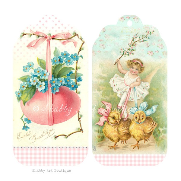 Download free printable shabby vintage Easter tags from Shabby Art Boutique