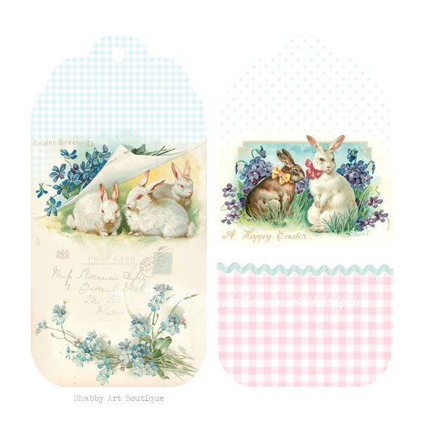 Free shabby vintage Easter tags to download from Shabby Art Boutique