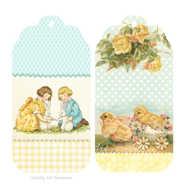Printable shabby vintage Easter tags to download from Shabby Art Boutique