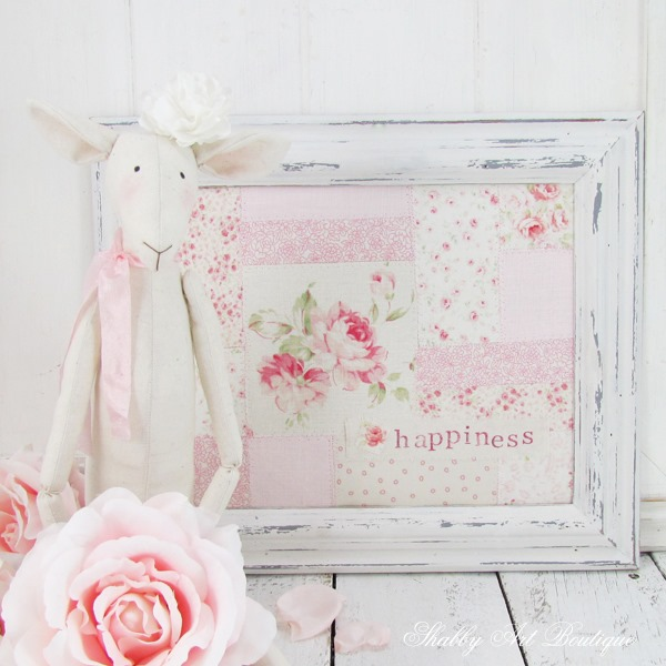 How to make a shabby faux patchwork frame for spring by Shabby Art Boutique