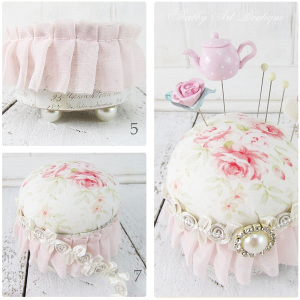 How to make this quick and easy shabby pincushion - tutorial by Shabby Art Boutique