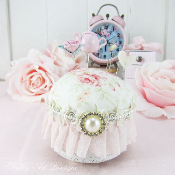 Quick and easy shabby pincushion tutorial by Shabby Art Boutique