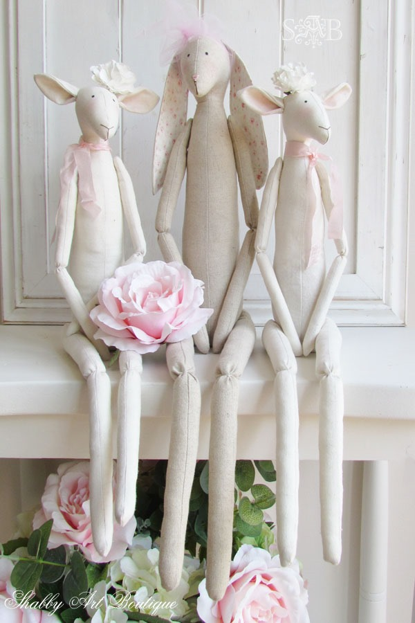 Shabby spring Tilda lambs and rabbit from Shabby Art Boutique