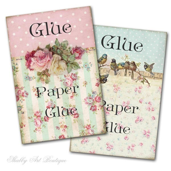 Free printable glue bottle labels from Shabby Art Boutique