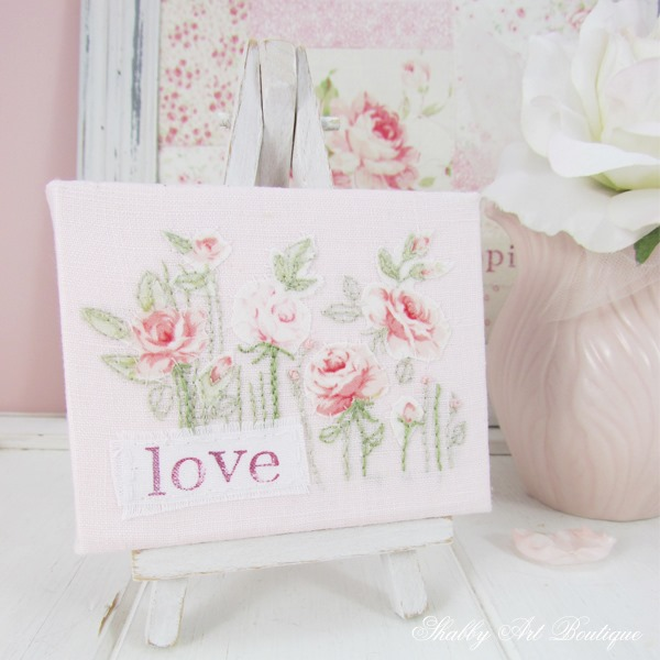 Mini canvas embroidery by Shabby Art Boutique - full tutorial